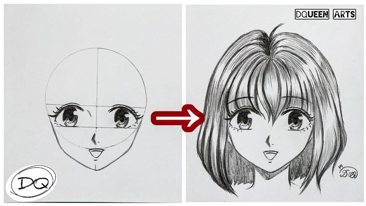 Cara Paling Mudah Cara Menggambar Kepala Wajah Anime Step By Step How To Draw Anime Face Youtube