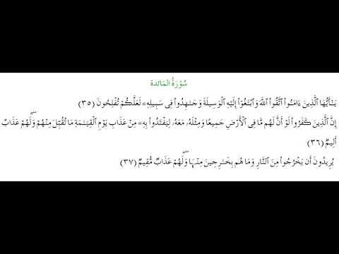 SURAH AL-MAEDA #AYAT 35-37: 14th April 2021
