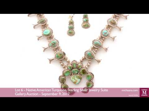 Native American Turquoise, Sterling Silver Jewelry Suite at Michaan's Auctions