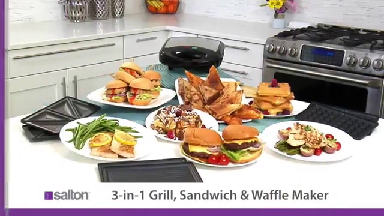 salton 3 in 1 grill sandwich maker waffle maker youtube. Black Bedroom Furniture Sets. Home Design Ideas