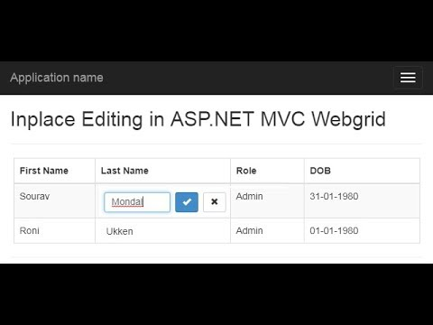 Part 1 - Basic Inplace editing in asp net MVC webgrid