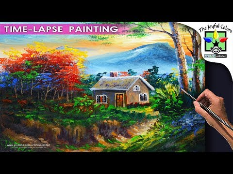 BASIC LANDSCAPE PAINTING TUTORIAL with Gorgeous House and Autumn trees During Sunset | Acrylic Art