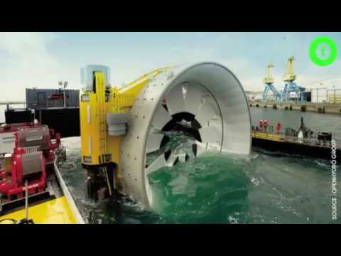 The world's very first underwater Hydroelectric Turbine factory launched in Cherbourg