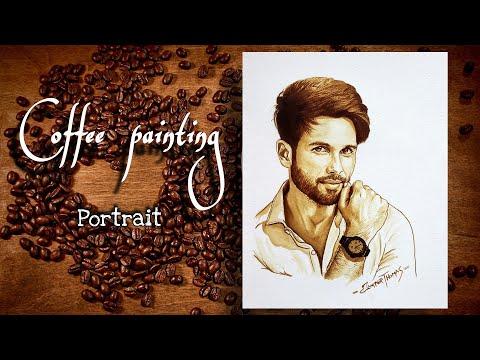Coffee Painting | Portrait Painting | Indian Actor | Shahid Kapoor | ArT Thoma