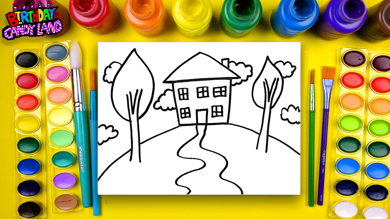learn to color for kids and color pencil crayon house coloring