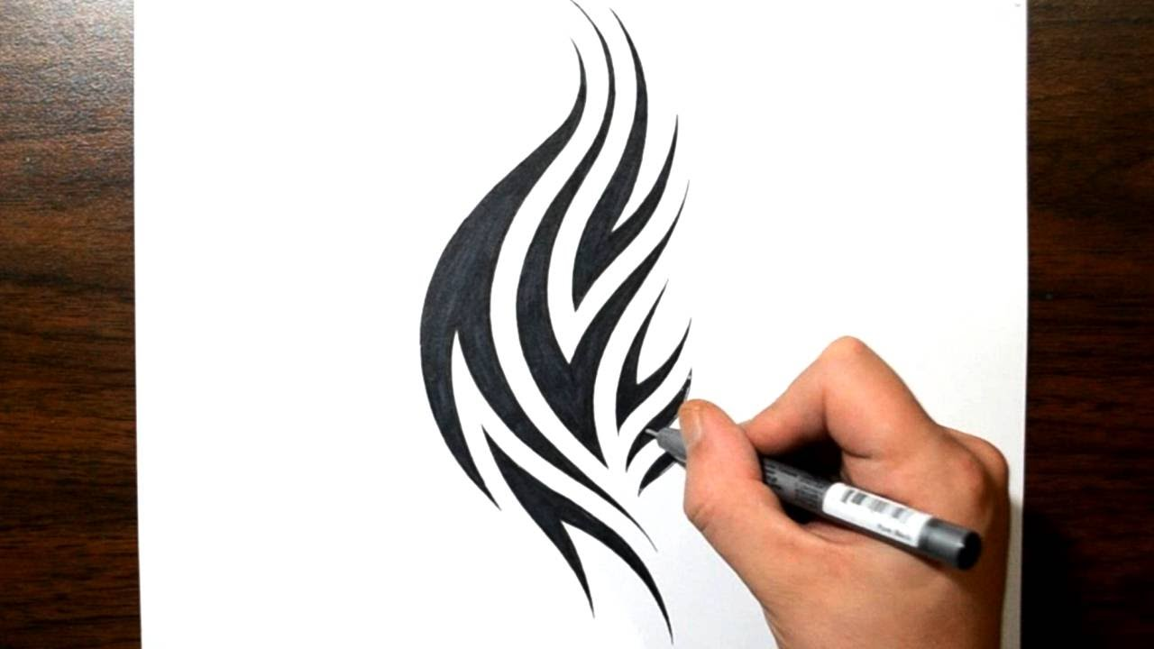 how to draw a tribal flames tattoo design youtube