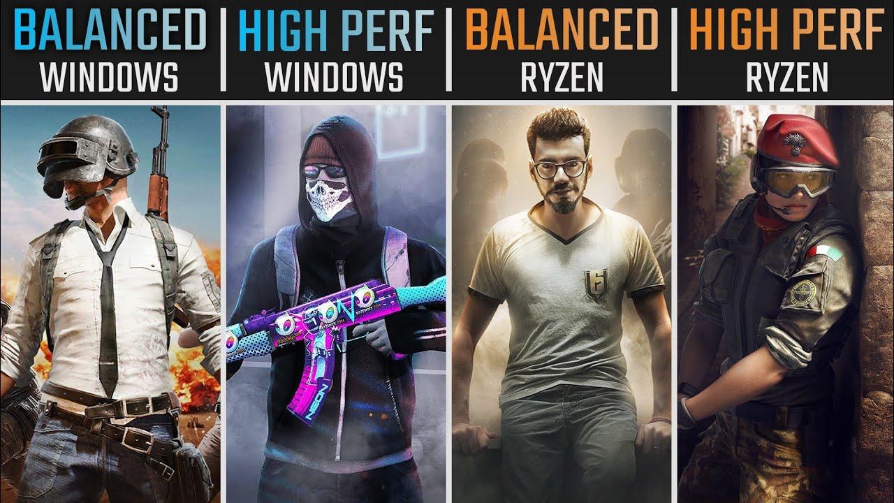 Windows Power Plans TEST - Balanced vs High Performance vs Ryzen Balanced vs Ryzen High Performance