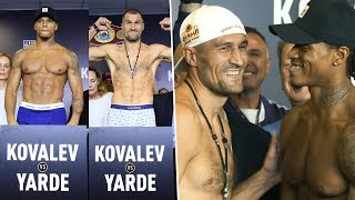 Kovalev and Yarde weigh in, stare into each other's souls and then burst out laughing!