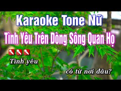 Karaoke || Tình Yêu Trên Dòng Sông Quan Họ Tone Nữ || Nhạc Sống Duy Tùng