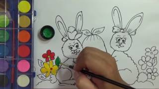 Dạy bé tập tô màu và vẽ tranh con thỏ | PA channel