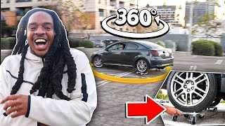 Doing 360 Donuts With My Car On Skates!