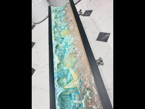 MAKING AND CUTTING A BEACH THEMED CUSTOM ORDER HANDMADE COLD PROCESS SOAP