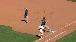 MIN@SF: Mauer makes a great play at first for out