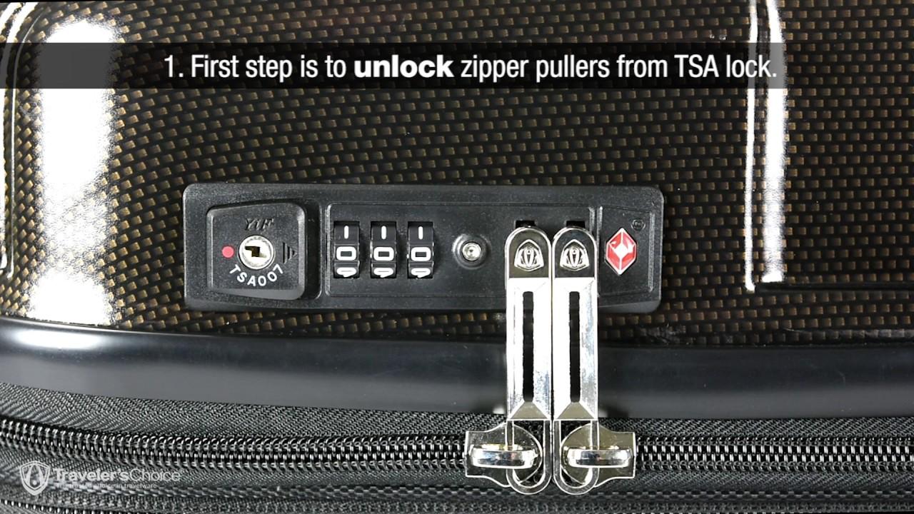 Combination & TSA Lock Instructions for Traveler's Choice