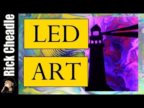 LED Light Project  Jigsaw work, Paint Pouring -Assemblage Art - Illuminated Wall Panels Rick Cheadle