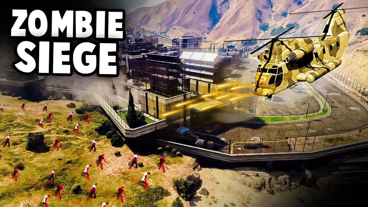 ZOMBIE FORTRESS SIEGE! Epic RARE HELICOPTER and Base Defense! (GTA 5 Online Funny Moments)
