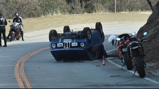 17 Year Old Driver Flips BMW