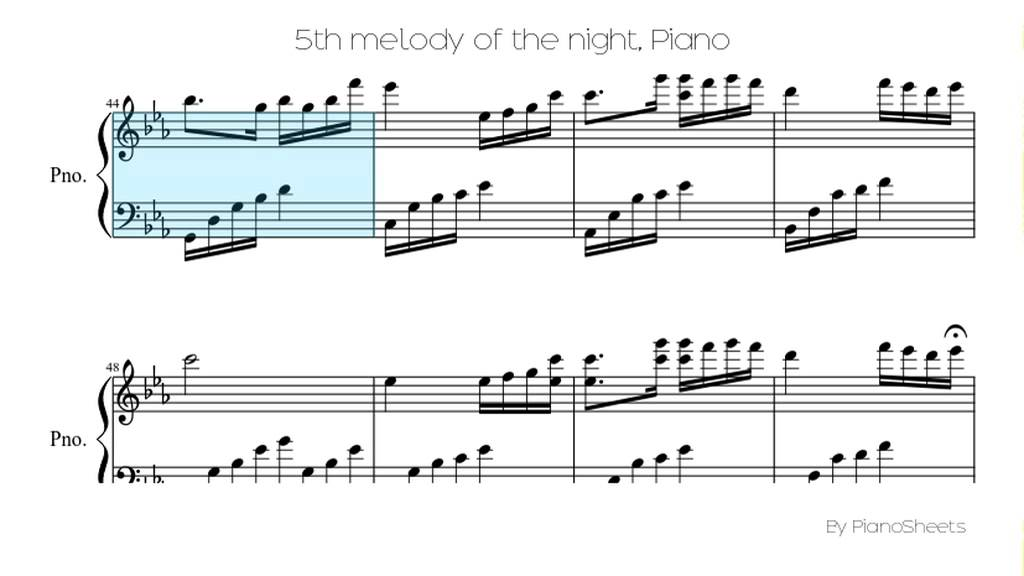 5th Melody Of The Night Piano Solo Youtube