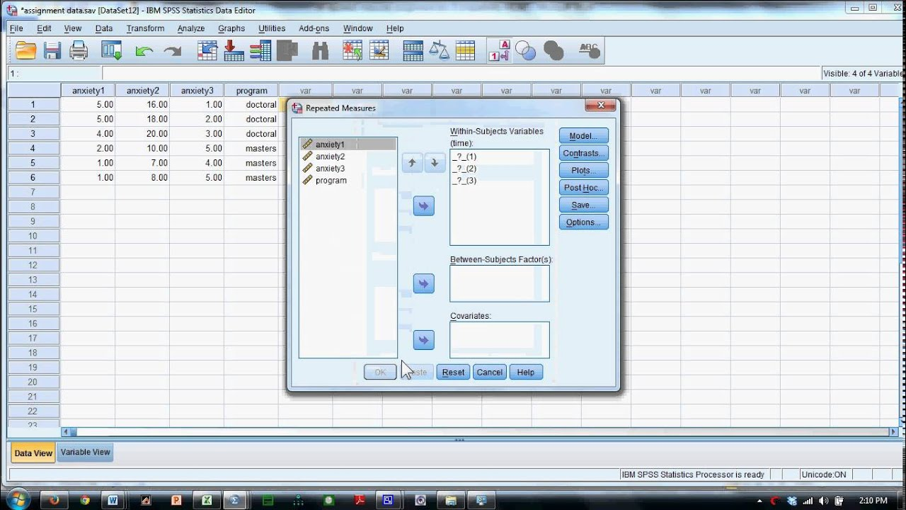 Mixed Model ANOVA in SPSS