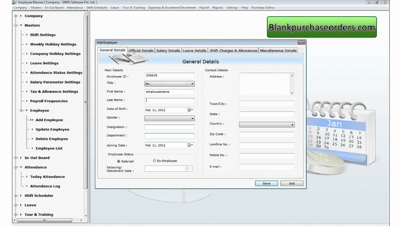 blank purchase order
