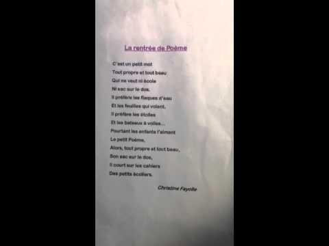 Sehr La rentrée de Poème - YouTube WD04