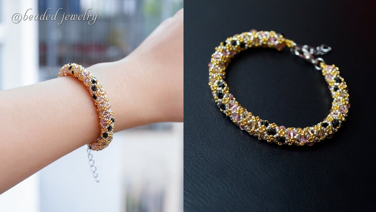 Sparkle glam beaded bracelet with seed beads and bicones. How to make beaded jewelry