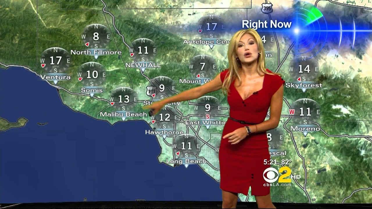 Jackie Johnson 2011 04 28 5pm Cbs2 Hd; Red Hot Dress