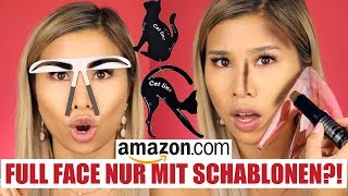 Full Face nur mit Makeup SCHABLONEN?! Amazon Live Test! l Kisu