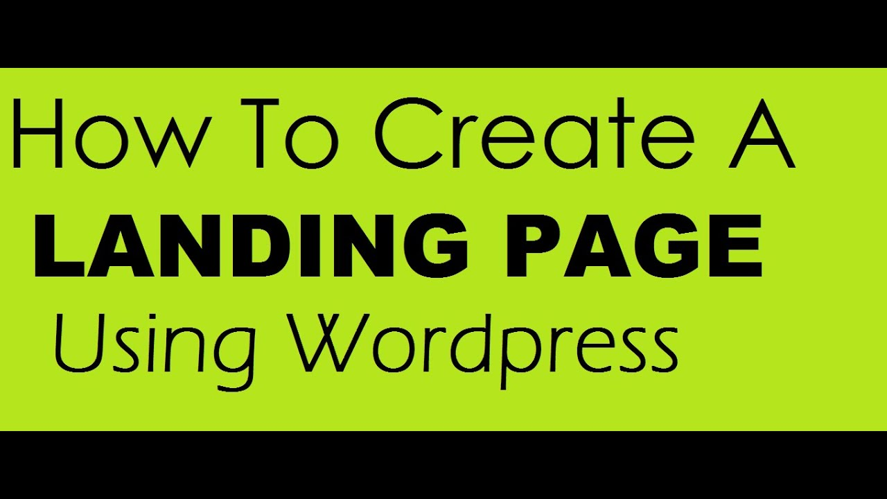 how to set landing page wordpress.org