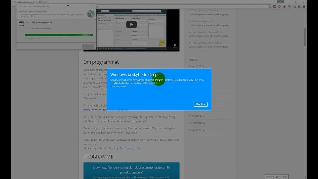 Installation af Udtalelsesgeneratoren i Windows 10