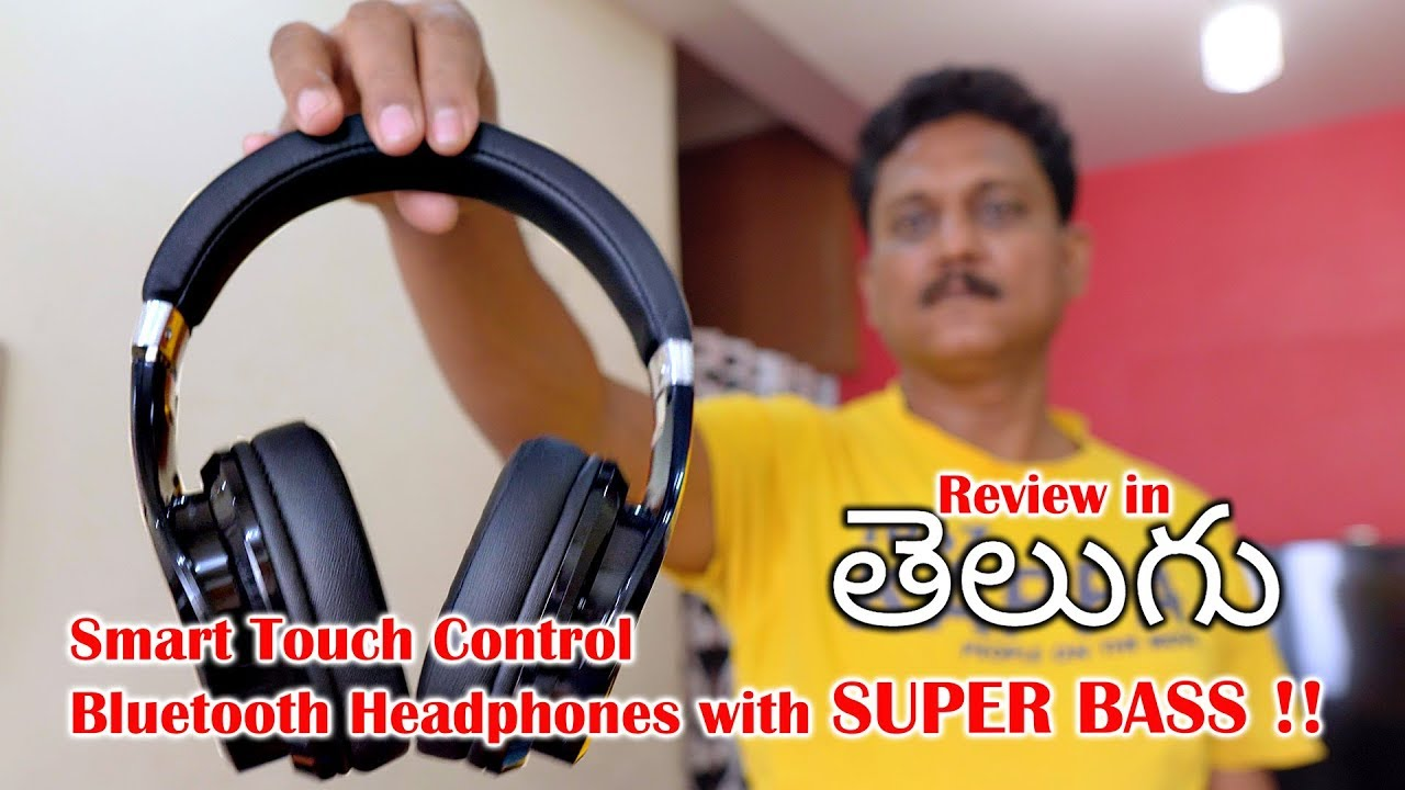 86a9c20b254 Touch Control Wireless Headphones with SuperBass Review in Telugu ...