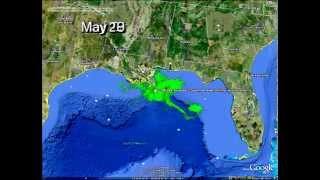 Time Lapse Video of Gulf Oil Slick Spreading Through Gulf