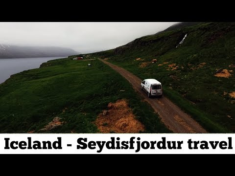Seydisfjordur Iceland fjords drone aerial video : long travel close to the Seyðisfjörður fjords