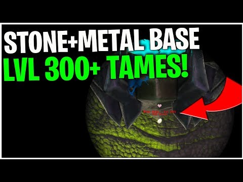RAID! LvL 300+ TAMES IN A STONE+METAL BASE!   Small Tribe PvP  Ark Survival Evolved Ep34
