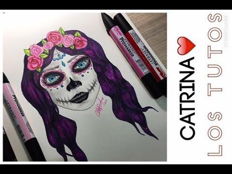 Como Dibujar Una Catrina Halloween Youtube