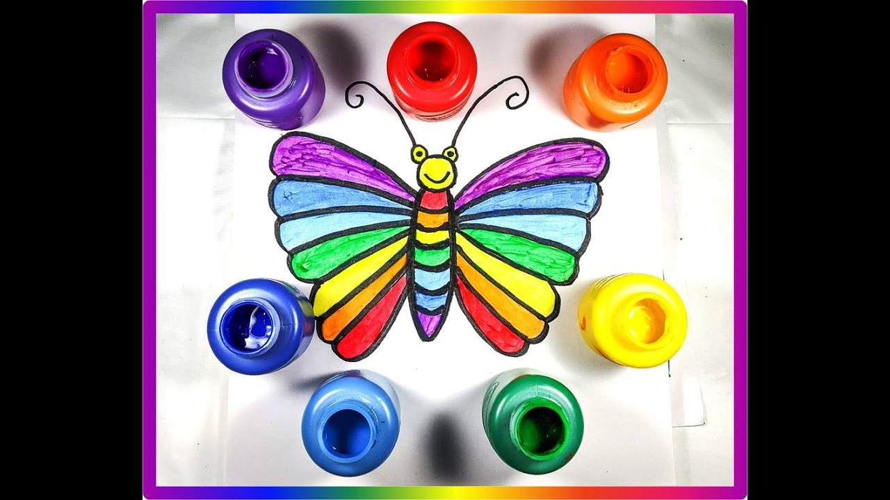Easy Draw Butterfly/Rainbow Color learning - YouTube