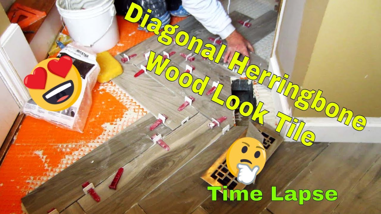Herringbone Wood Look Plank Porcelain Tile Floor Time