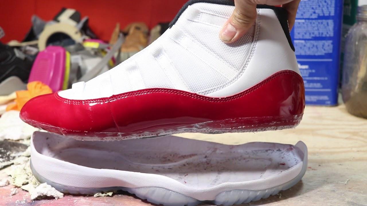 0f754aee5e2066 Jordan 11 Cherry Cleat Swap FAIL - YouTube