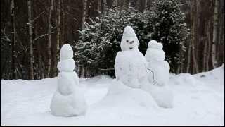 Снеговик Новогодний снегопад / Snow falls on snowman