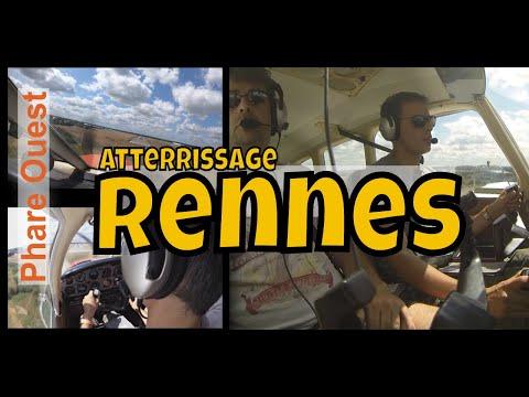 Atterrissage à Rennes piste 28 en Piper PA28 avec les commun