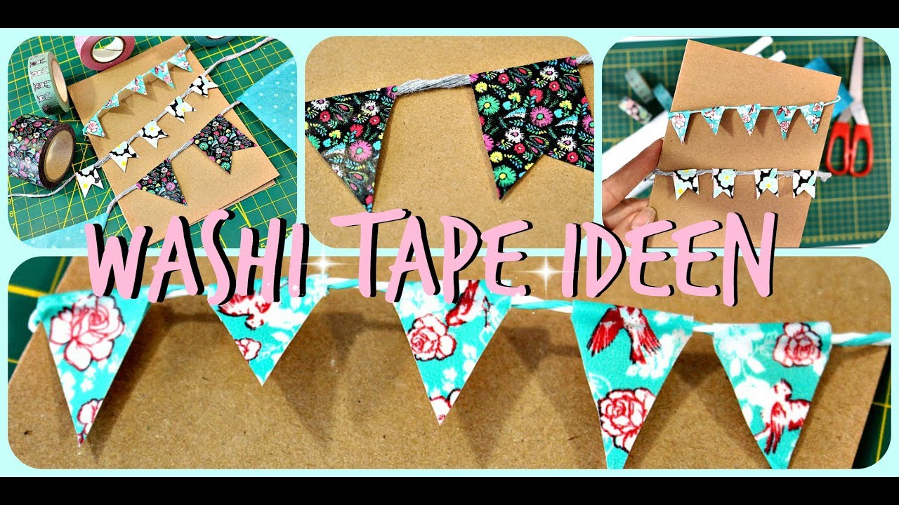 washi tape diy ideen deutsch masking tape wimpelkette selber machen 9999 dinge youtube. Black Bedroom Furniture Sets. Home Design Ideas