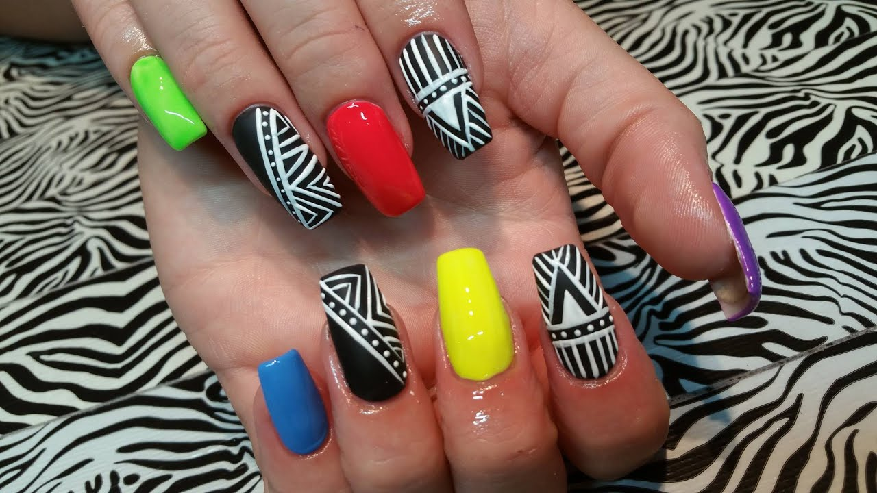Acrylic Infill l Neon & Basic Aztec l Nail Design - YouTube