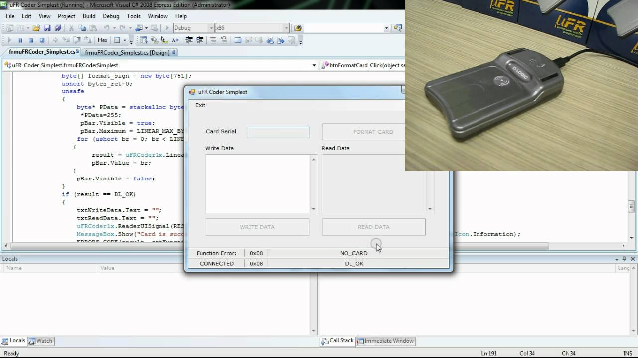 RFID NFC and Mifare programming - Visual C# (Windows) source code example  Simplest for uFRCoder