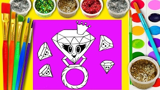 Cute Diamond Ring Coloring Page for Kids to Learn to Color and Paint Hand Watercolor