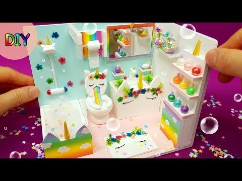 DIY Miniature dollhouse Bathroom - Unicorn Bathroom decor ! Rainbow~