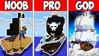 Minecraft Noob Vs Pro Vs God  Secret Block Pirate Boat In Minecraft  Animation