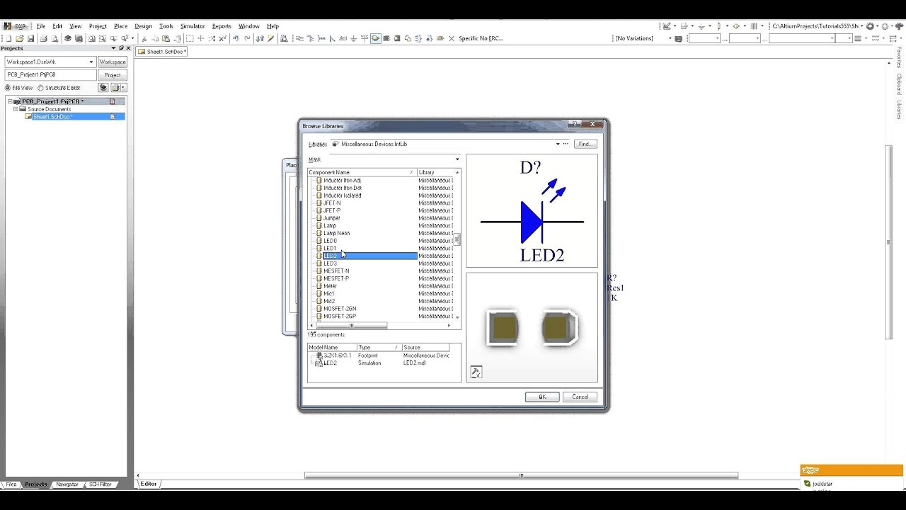 Altium Designer Tutorial - Part 1 - Starting a project and adding components
