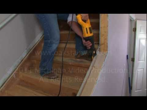 How to remove nosing from stairs to install oak wood stair treads.