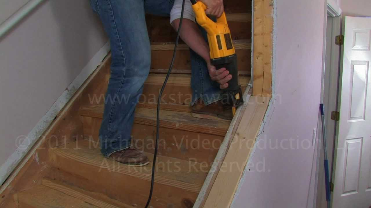 How To Remove Nosing From Stairs To Install Oak Wood Stair Treads | Oak Steps For Stairs | Wood Floor | Iron Baluster | Rounded | Stained | Closed Tread