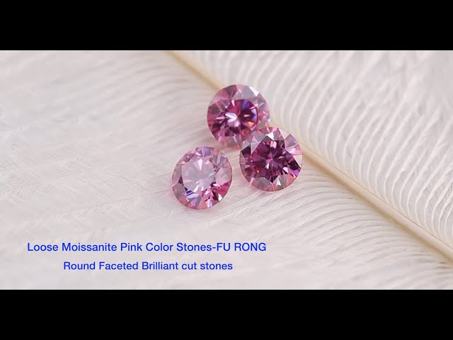Pink Color Loose Moissanite Round faceted Brilliant Cut Gemstones Wholesale from China Suppliers